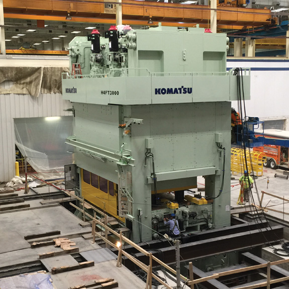 3,000-metric-ton servo press with a Komatsu 3-axis linear motor drive.