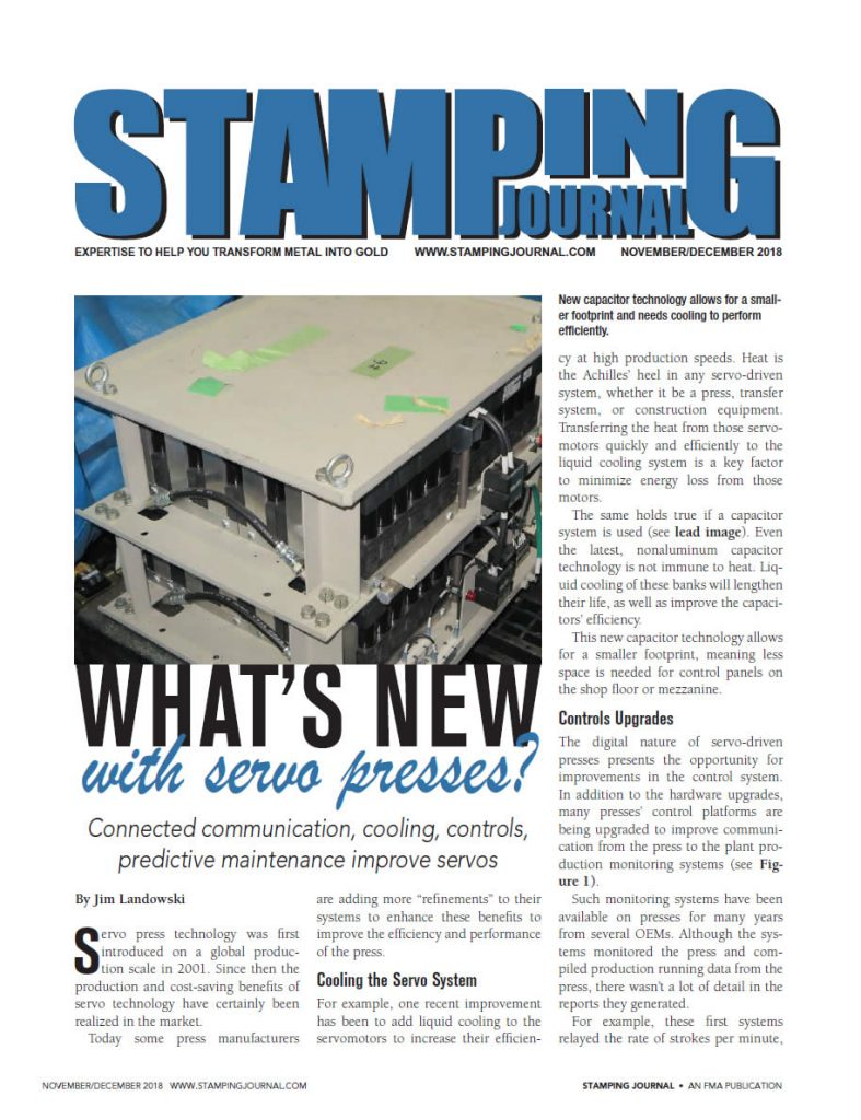What's New with Servo Presses | Stamping Journal Nov/Dec 2018