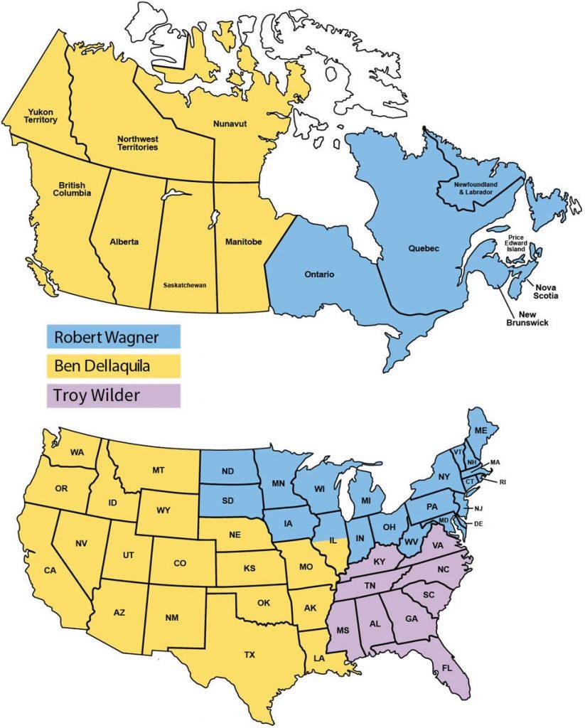 Komatsu North America Regional Sales Manager map
