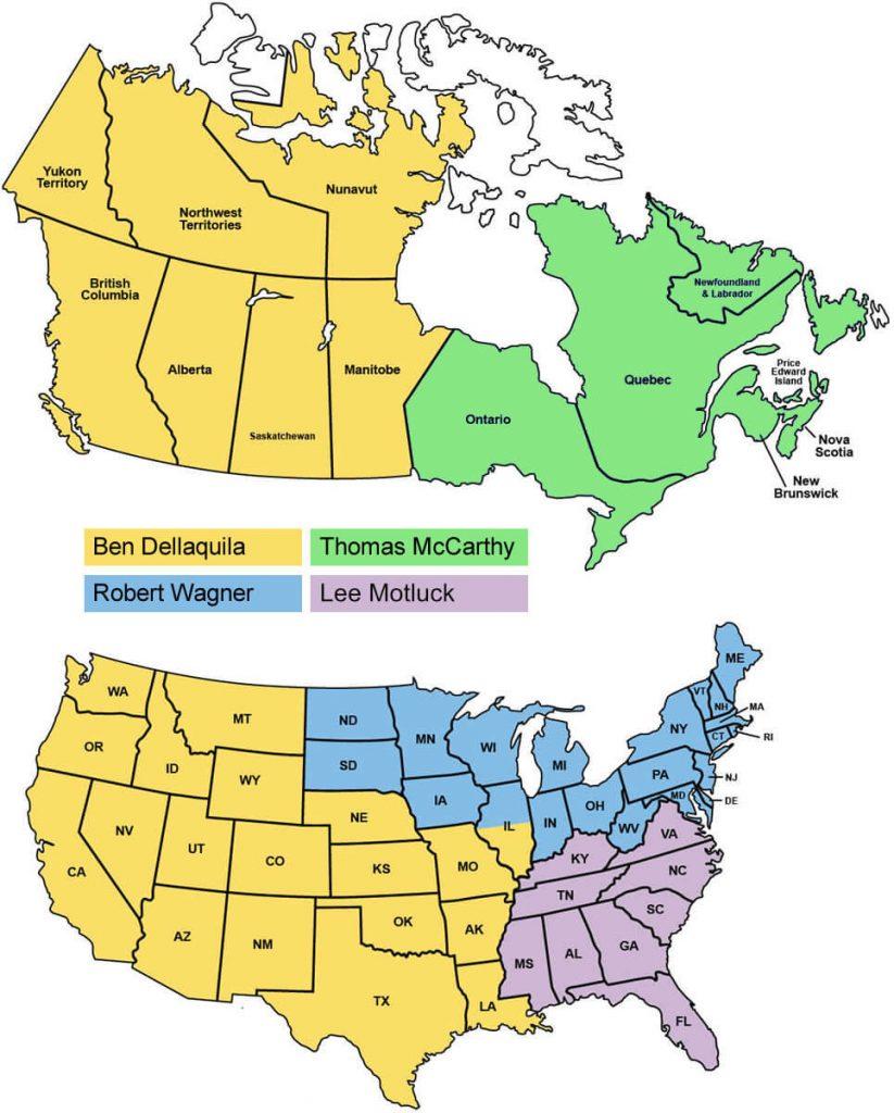Komatsu North America Regional Sales Manager map 2021